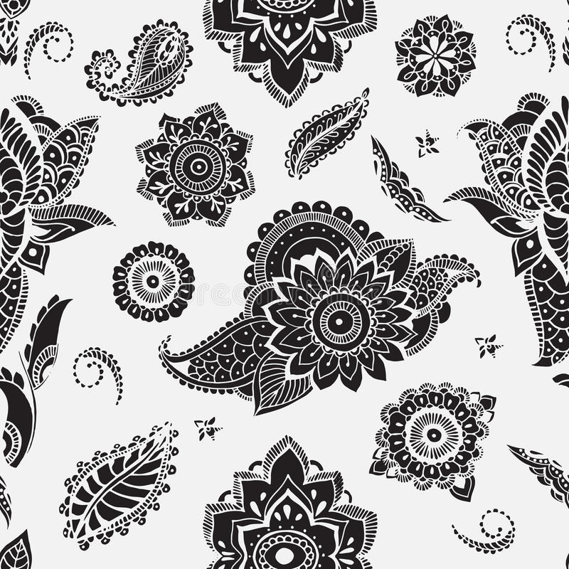 Seamless pattern with mehndi elements. Floral wallpaper with stylized flowers, leaves, indian paisley. Vector black and vector illustration