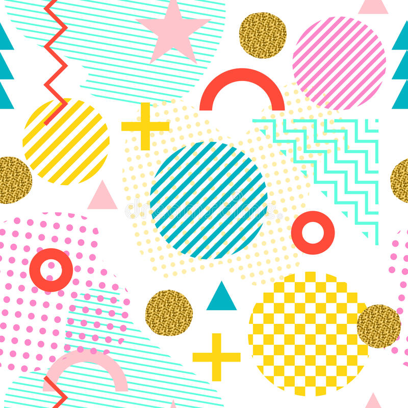 Seamless pattern in Memphis style. Abstract vector background in the style of 80-90. Seamless pattern in Memphis style. Abstract vector backgrounds with stock illustration