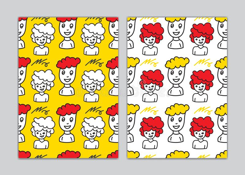 Seamless pattern men face cartoon for book cover, paper, wallpaper, Gift Wrap, wale, fabric. vector illustration. cute doodle stock illustration