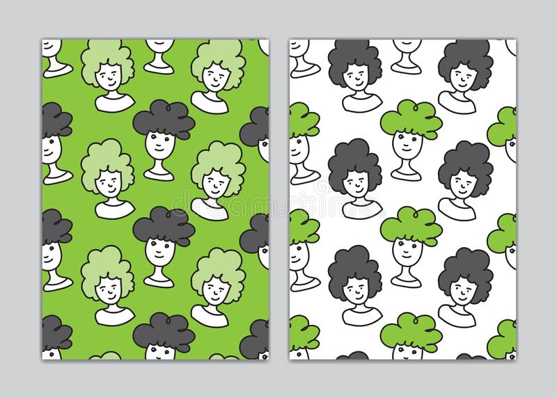 Seamless pattern men face cartoon for book cover, paper, wallpaper, Gift Wrap, wale, fabric. vector illustration. Cute doodle cartoon vector illustration