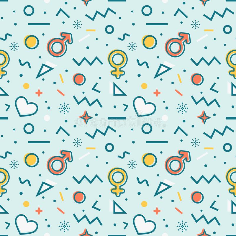 Seamless pattern with gender symbols and hearts. Vector stock illustration