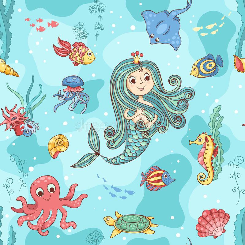 Seamless pattern with mermaid princess royalty free stock images
