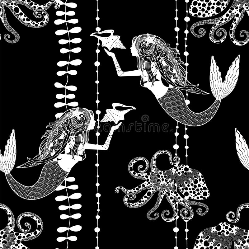 Seamless pattern with mermaids holding conch shell, octopuses and sea weed. On black background royalty free illustration