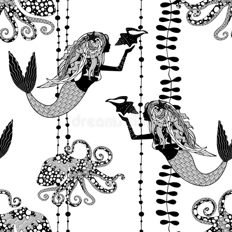 Seamless pattern with mermaids holding conch shell, octopuses and sea weed royalty free illustration