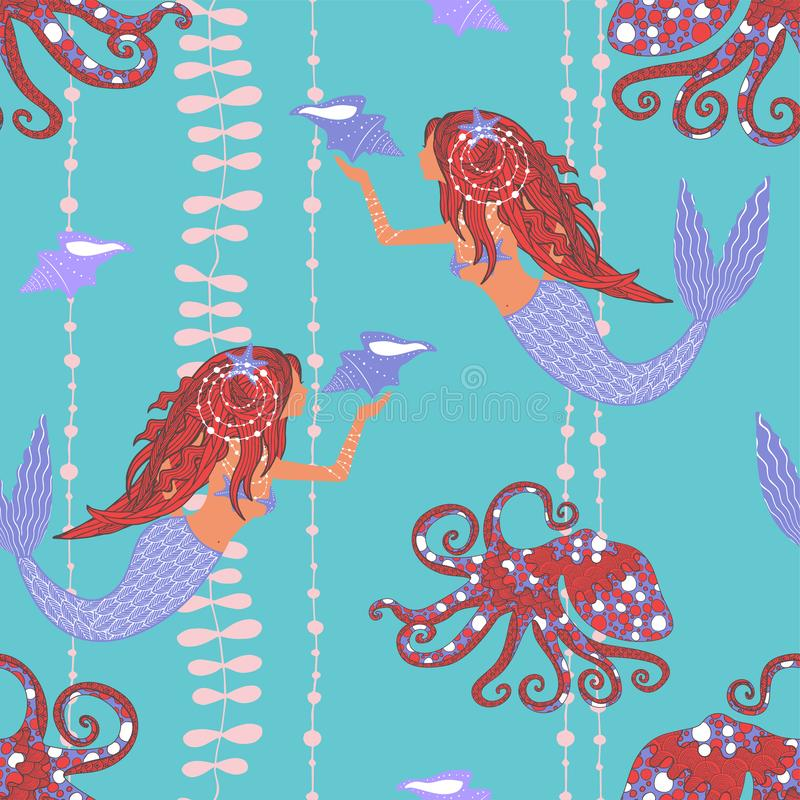 Seamless pattern with mermaids holding conch shell, octopuses and sea weed. On blue background stock illustration
