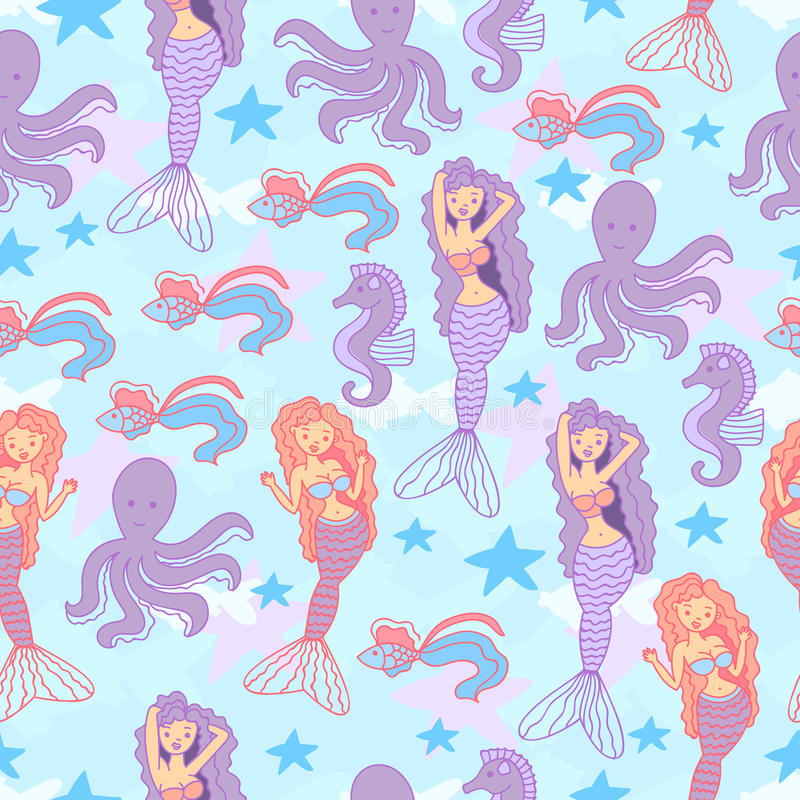 Seamless pattern with mermaids stock illustration
