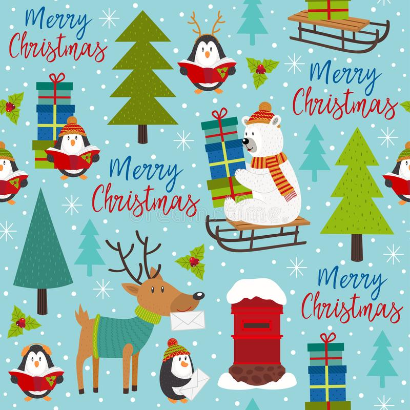 Seamless pattern Merry Christmas with arctic animals vector illustration