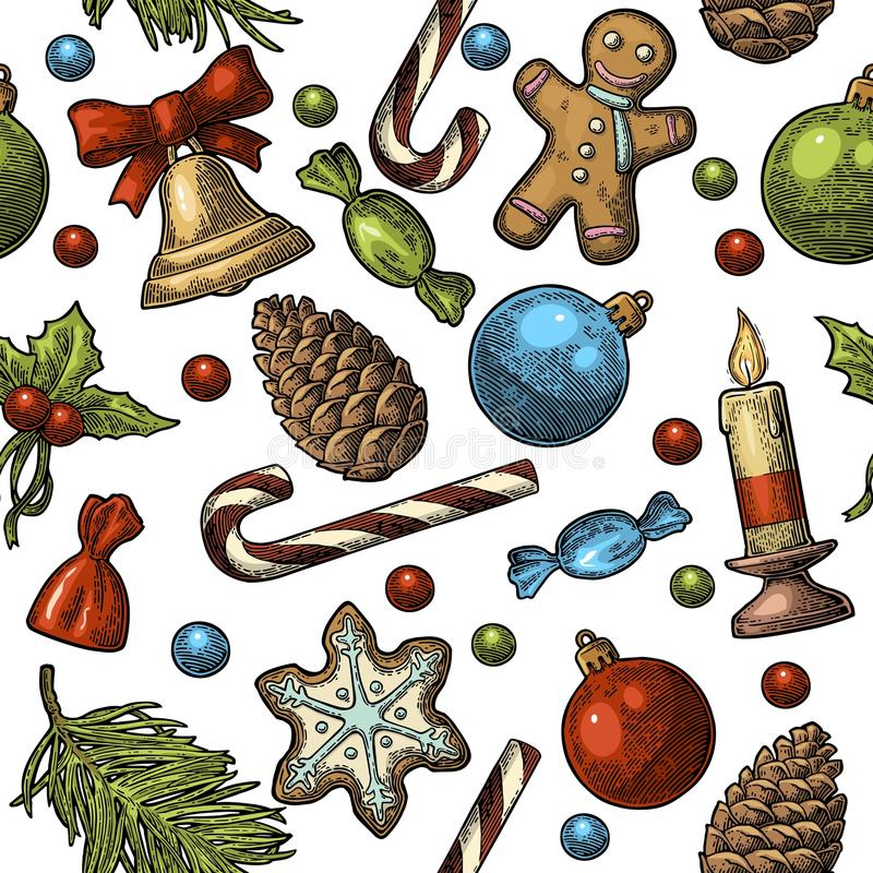Seamless pattern for Merry Christmas and Happy New Year. Gingerbread man, Pine cone, Candy, Mistletoe, Candle, Cone, Toy. Isolated on white background. Vector stock illustration