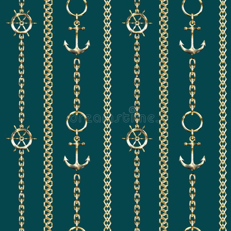 Seamless pattern with metal chains, anchors and steering wheel on turquoise background. stock illustration