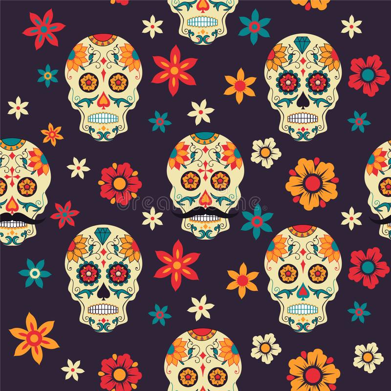 Festive seamless pattern Mexican Day of Dead with sugar skull. flowers. vector illustration