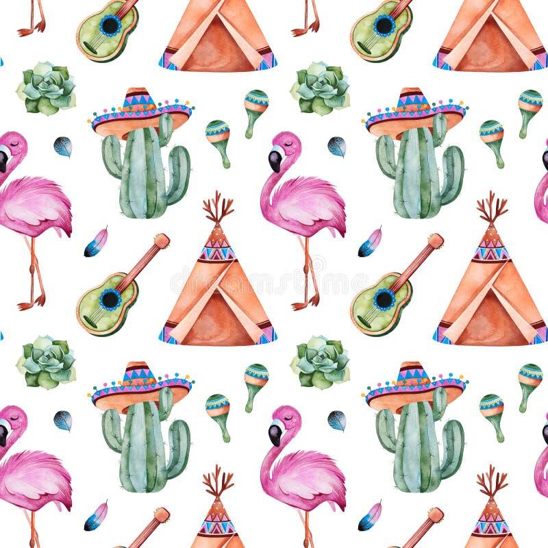 Seamless pattern with mexican ethnic elements:cactus,sombrero,maracas,teepee,guitar,flamingo stock illustration