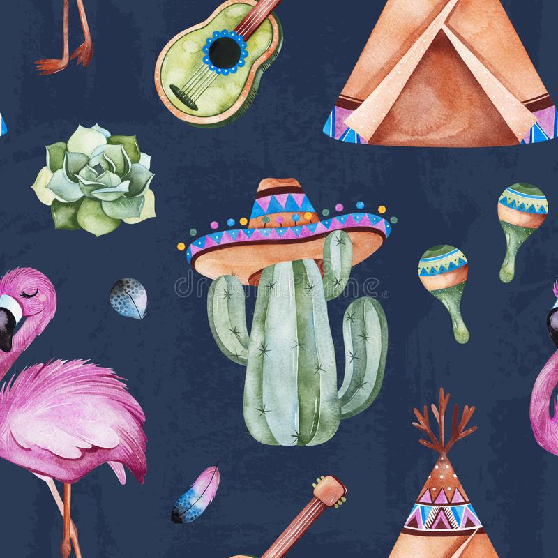 Seamless pattern with mexican ethnic elements:cactus,sombrero,maracas,teepee,guitar stock illustration