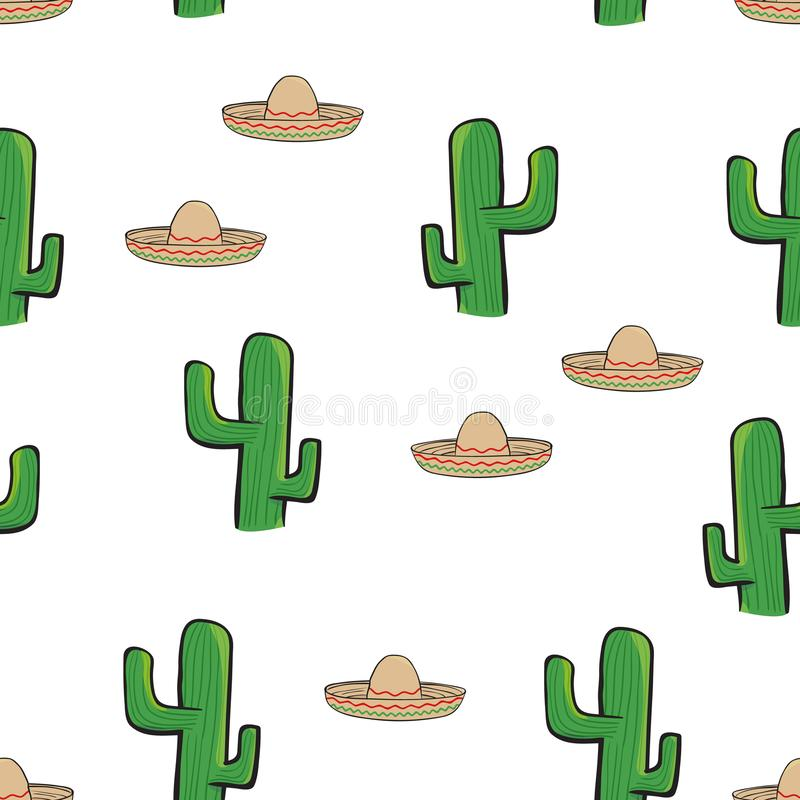 Seamless pattern Mexican sombrero hat and cactus on white background wallpaper textile vector giftwrap. Vector illustration stock illustration