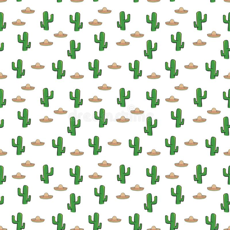 Seamless pattern Mexican sombrero hat and cactus on white background wallpaper textile vector giftwrap. Vector illustration vector illustration