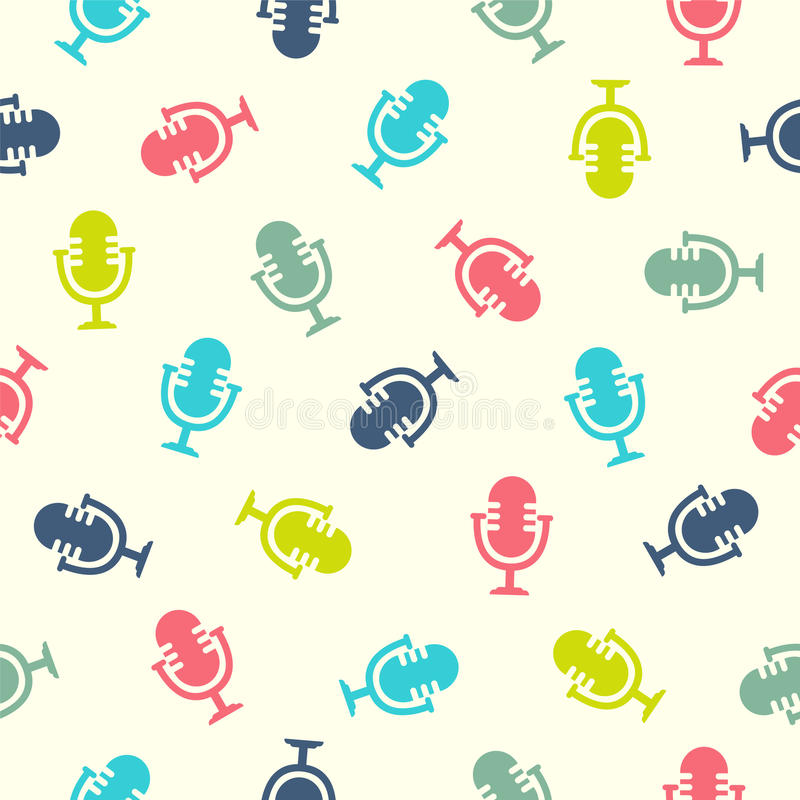 Seamless pattern - microphone vector illustration