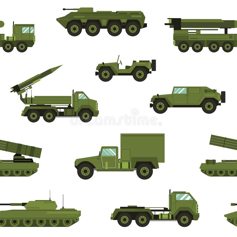 Seamless pattern with military transport on white background - tank, artillery tractor, rocket launching system vector illustration