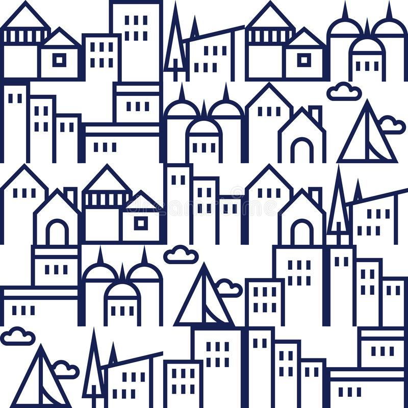Free Seamless Pattern, Minimalist Home And Building Outline Illustration Stock Photo - 156759090