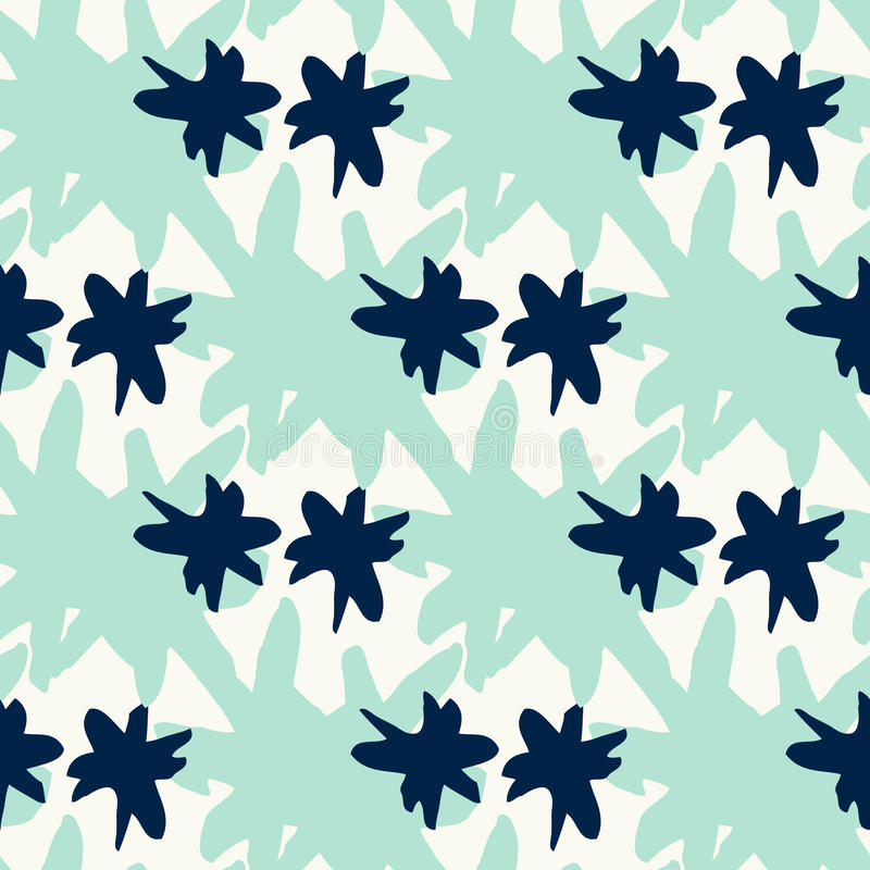 Seamless pattern with mint aqua star stains stock illustration