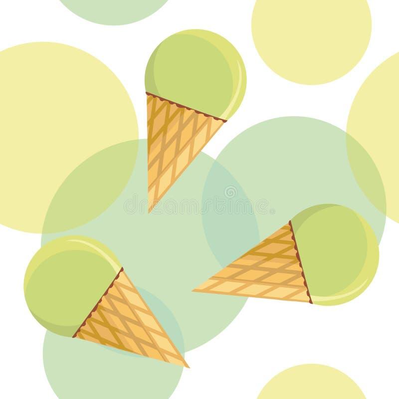 Seamless pattern with mint ice-cream stock illustration