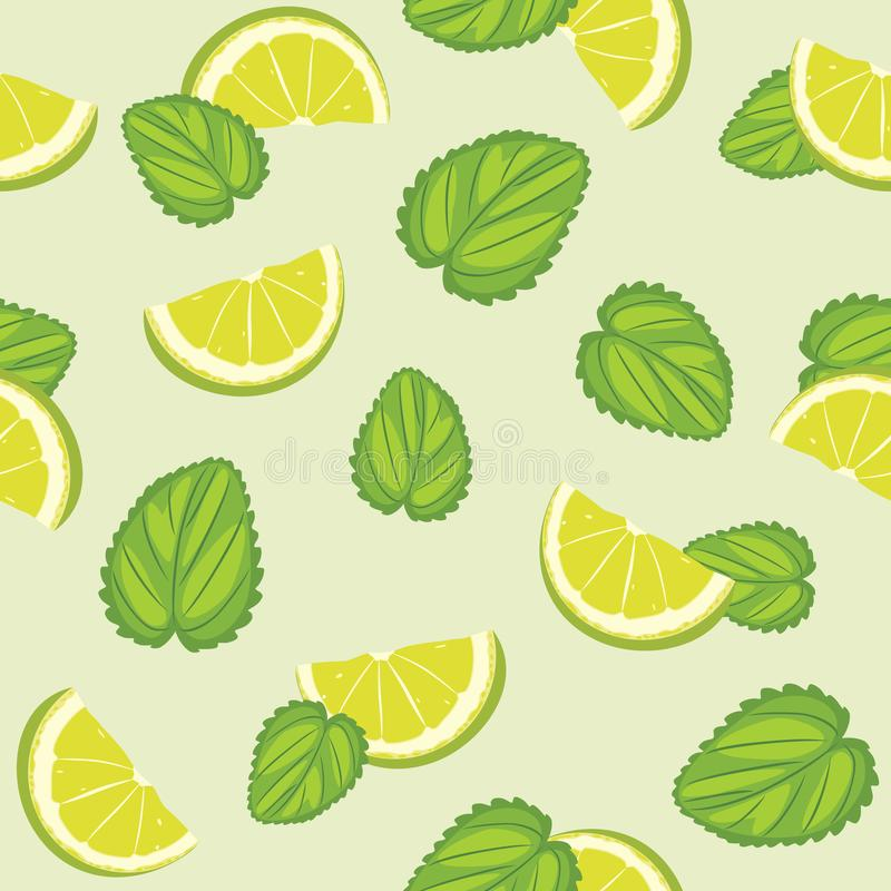Seamless pattern with mint leaves and lime slices royalty free stock image
