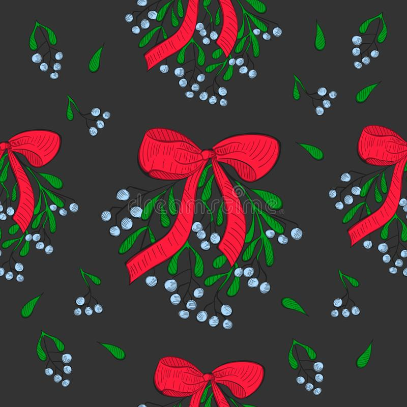 Seamless Pattern with Mistletoe Decorated with Bow royalty free illustration