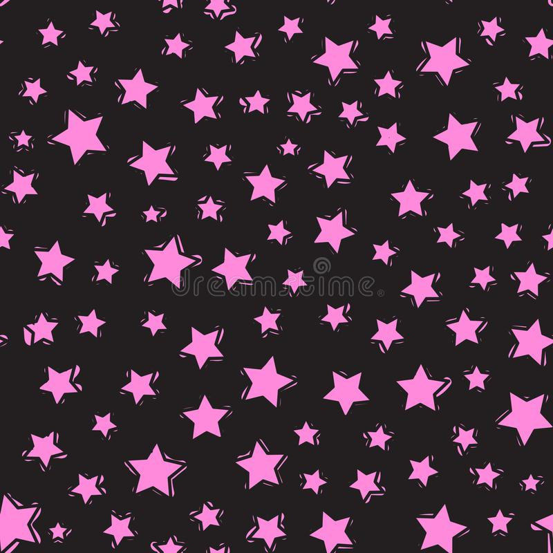 Seamless pattern. Modern Bright design for kids Vector Abstract star isolated on a black background. Seamless pattern. Modern Bright design for kids. Abstract stock illustration
