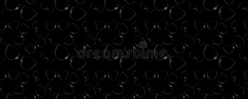 Seamless pattern of modern elegant sunglasses shining in darkness on black background. stock image
