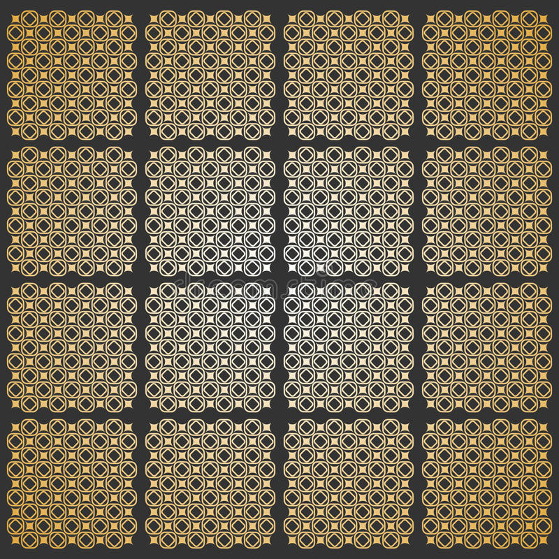 Seamless pattern. Modern geometric texture in grey - golden color. Repeating stylish tiles of squares vector illustration