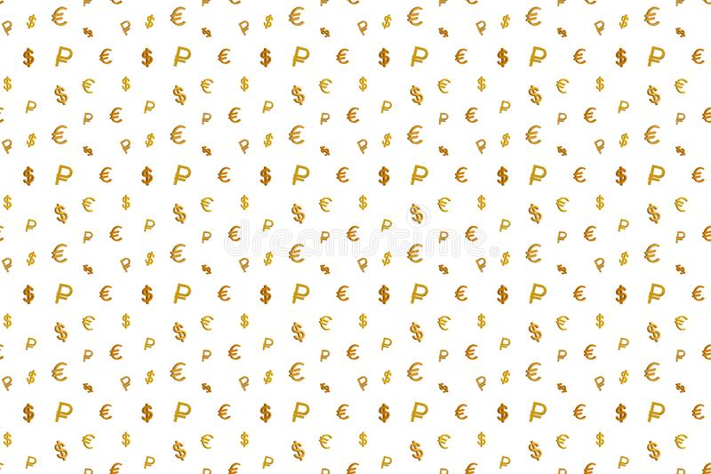 Seamless pattern with money icons: euro, dollar and ruble royalty free stock images
