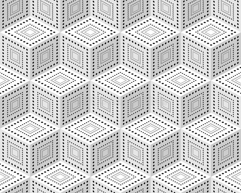 Seamless pattern from monochrome isometric cubes. Cuba on a white background. The pattern of dots and lines vector illustration