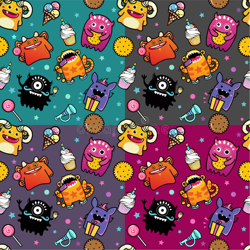 Seamless pattern with monster and food stock illustration