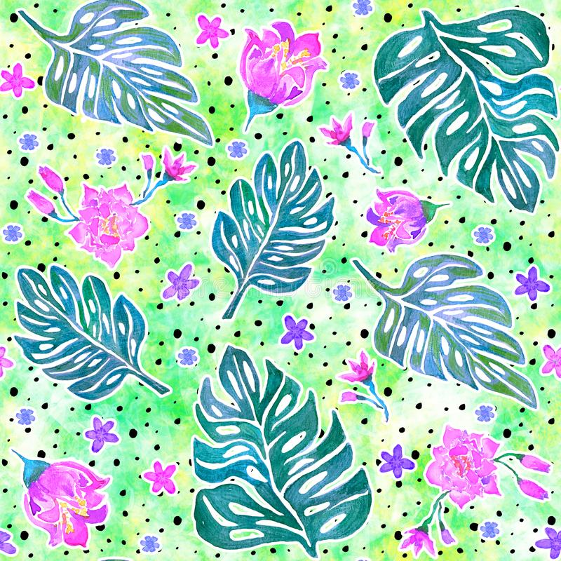 Seamless pattern with monstera leaves and tropical flowers stock illustration
