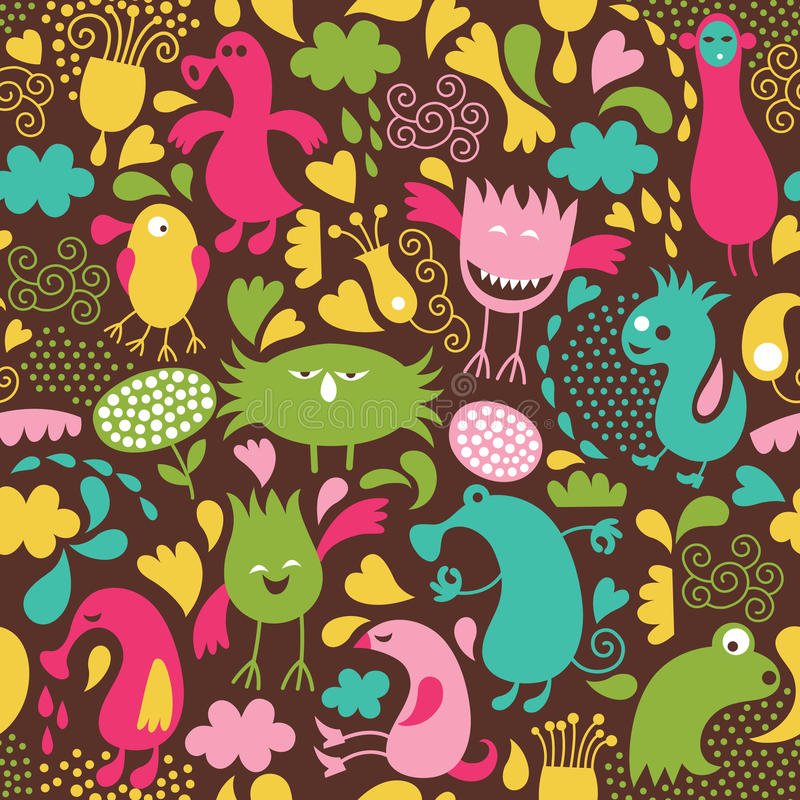 Seamless pattern with monsters stock illustration