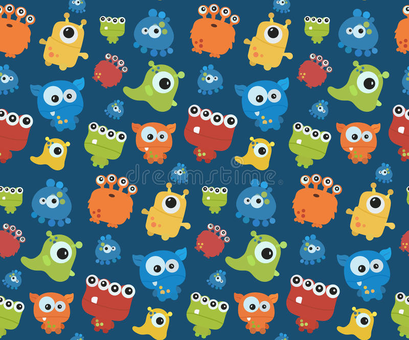 Seamless pattern with monsters. Print for Halloween. royalty free illustration