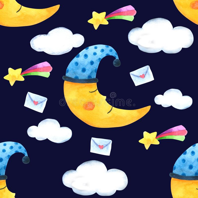 Seamless Pattern Moon and cloud for Packaging , Print Fabric. Watercolor Hand drawn image Perfect for cases design, postcards, Pro royalty free illustration
