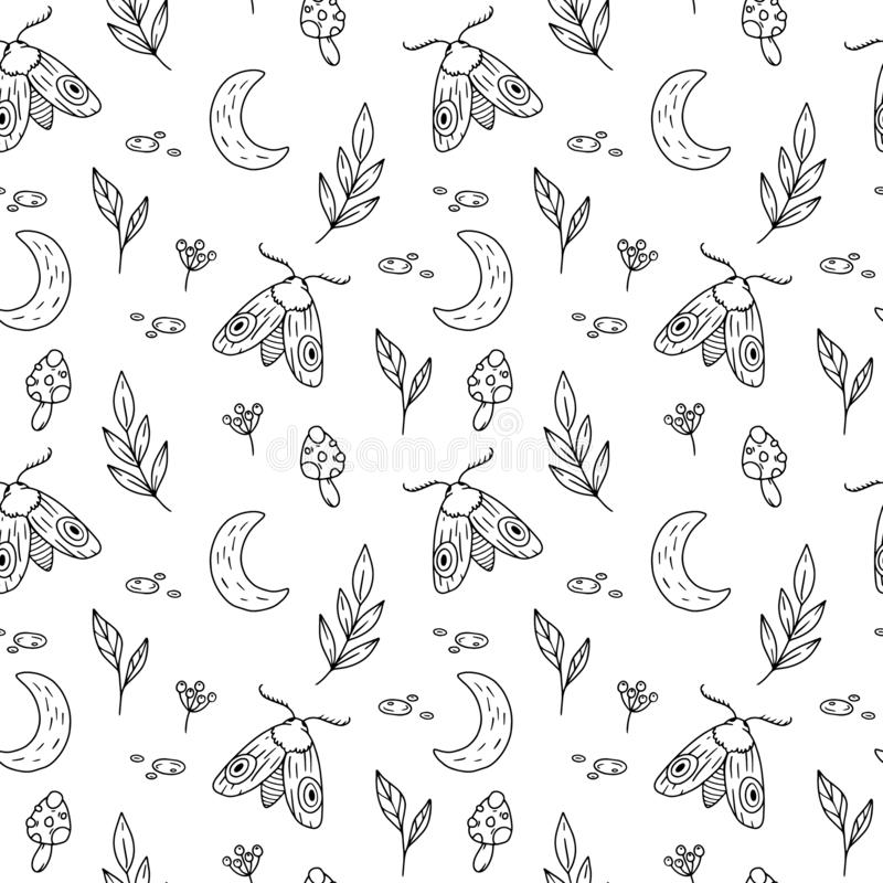 Seamless pattern with moon, leaves, moth. Mysterious wood illustration royalty free illustration
