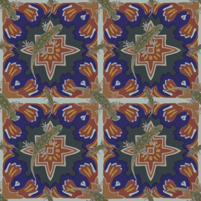 A seamless pattern, in Moroccan design, made of Moroccan tiles, with a salamander. stock photography