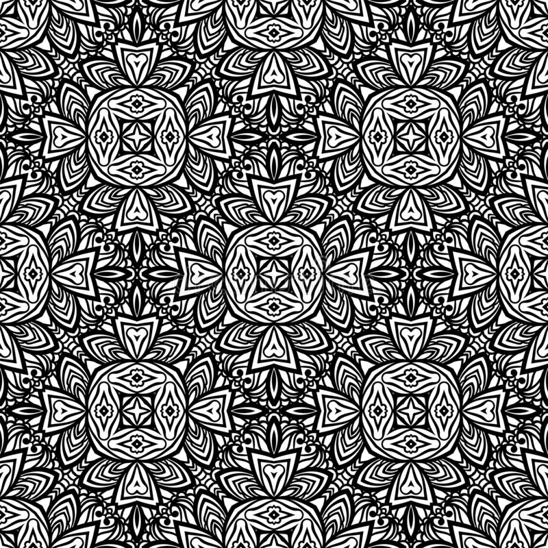 Seamless pattern in Moroccan style mosaic tile. Islamic monochrome traditional ornament. Geometric background. Vector illustration vector illustration