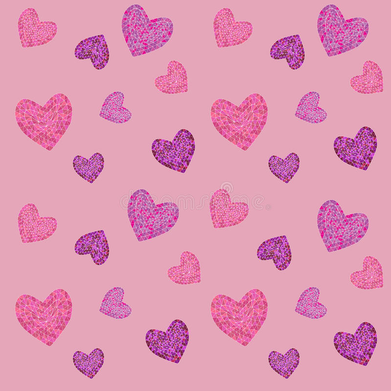 Seamless pattern with mosaic valentine`s hearts. stock photos