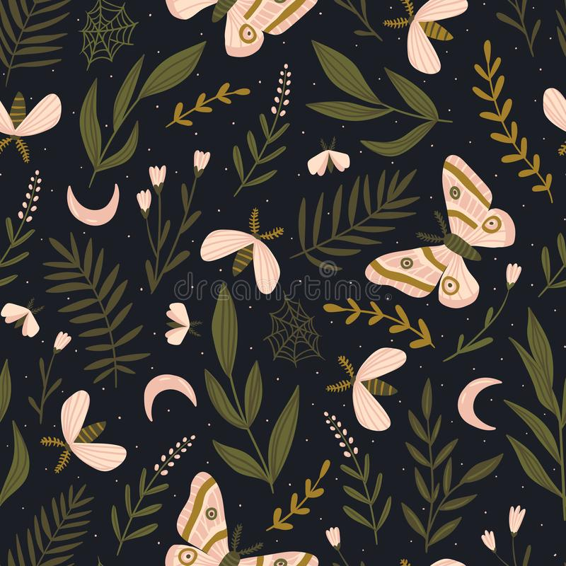 Vector seamless pattern with moths and night butterfly. Beautiful romantic print. Dark botanical design. stock illustration