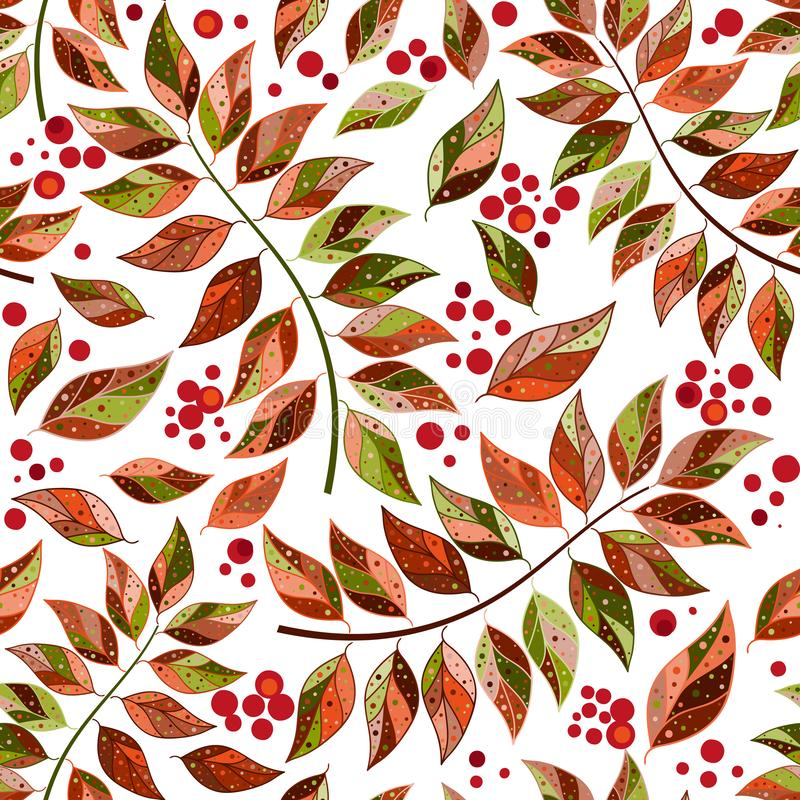 Seamless pattern of motley autumn leaves and berries stock illustration