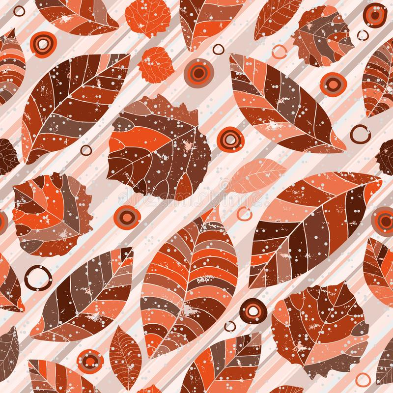 A seamless pattern with motley painted autumn leaves royalty free illustration