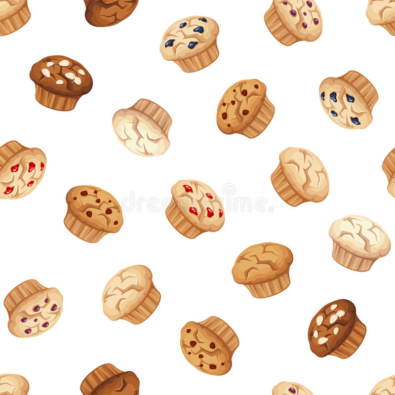 Seamless pattern with muffins. Vector illustration. Vector seamless pattern with muffins on a white background royalty free illustration