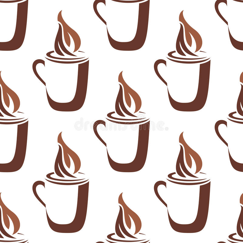 Download Seamless Pattern Of A Mug Of Steaming Hot Coffee Stock Vector - Image: 40877057