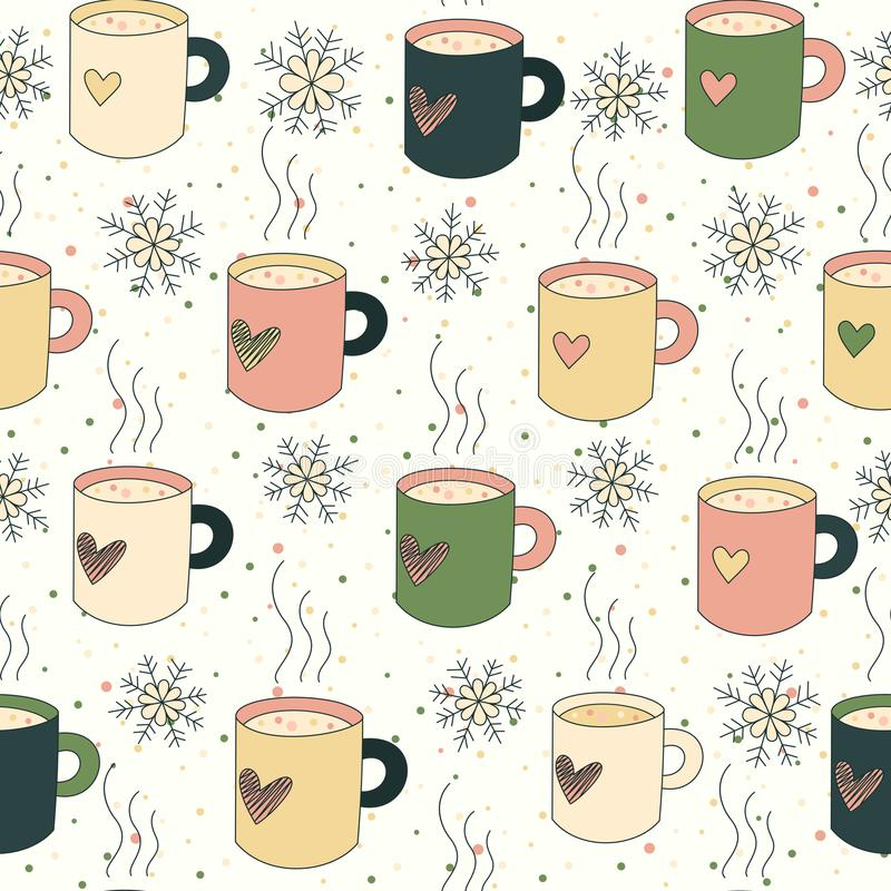 Seamless pattern mugs and snow vector illustration