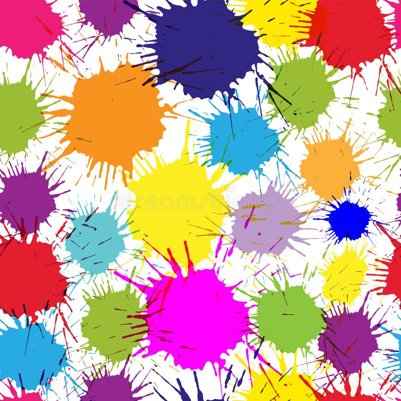 Seamless pattern with multi-colored blots on white background. Modern random colors stock illustration