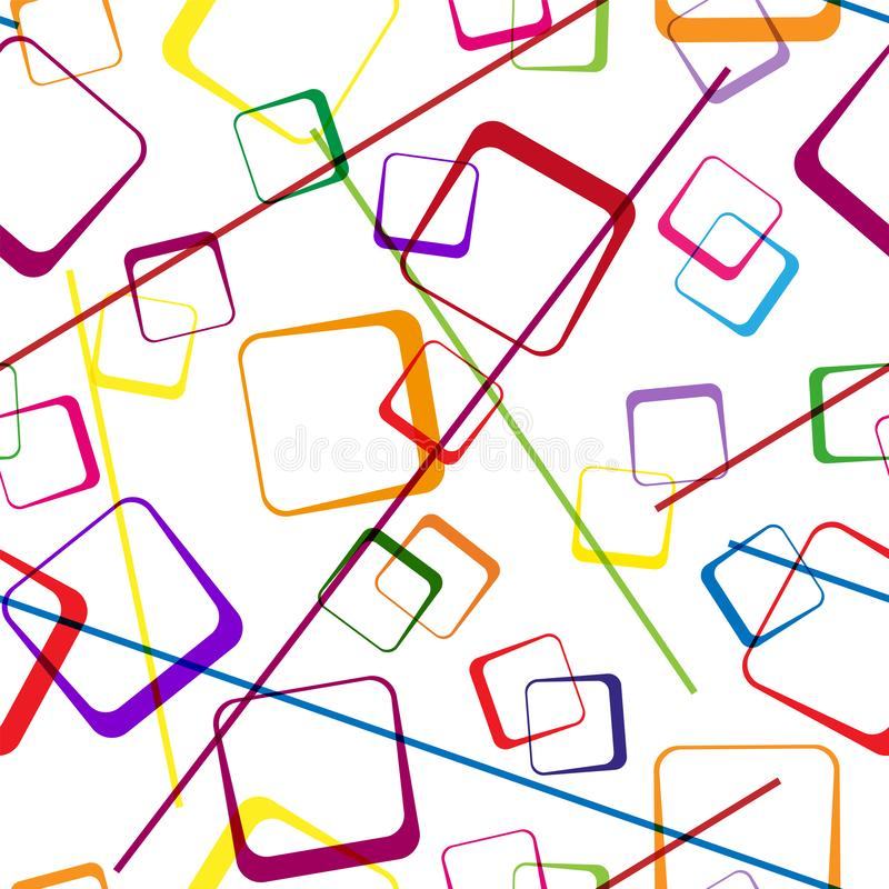 Seamless pattern of multi-colored intersecting squares and lines. Modern random colors vector illustration