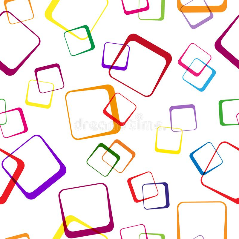 Seamless pattern of multi-colored intersecting squares on transparent background. Modern random colors royalty free illustration