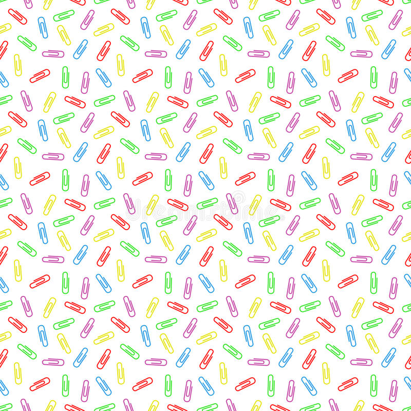Seamless pattern of multi colored paper clips stock illustration