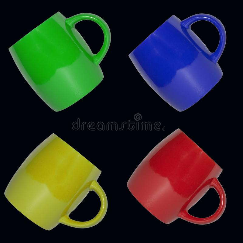 Seamless pattern of multicolored cups on a black background. stock photo